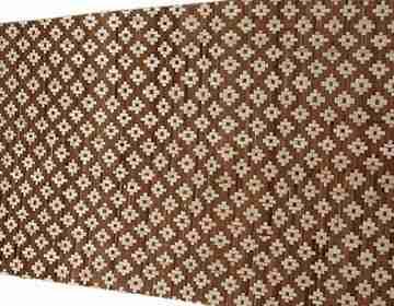 Плита бамбуковая Цветы светлые на коричневом 1,2х2,4м HDT 1сл.